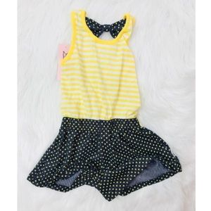 Little Lass Dresses - Little Lass Yellow Polka Dot Blue Dress 24Mos Girl